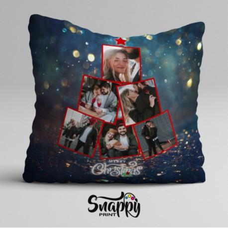 """Cuscino personalizzato natalizio """"Albero"""" con foto"""