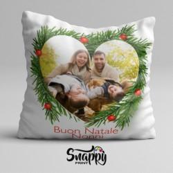 """Cuscino personalizzato natalizio """"Cuore"""" con foto"""