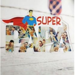 """Targa in Plexiglass """" Super papà """" personalizzata con Foto"""