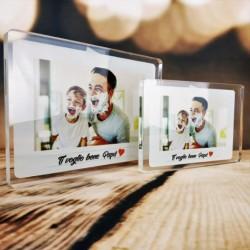 """Targa in Plexiglass Personalizzata con Foto """" ti voglio bene papà photo"""""""